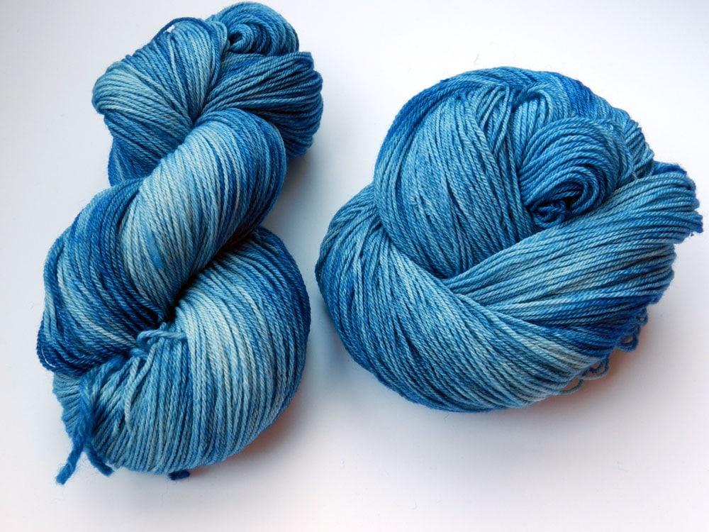 Blue Tie Dye Fingering Weight Yarn